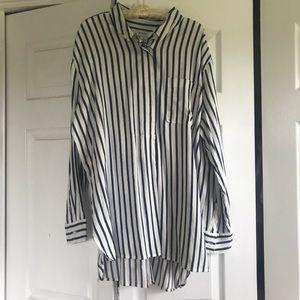 Liz Claiborne Oversized Pop-over Striped Shirt